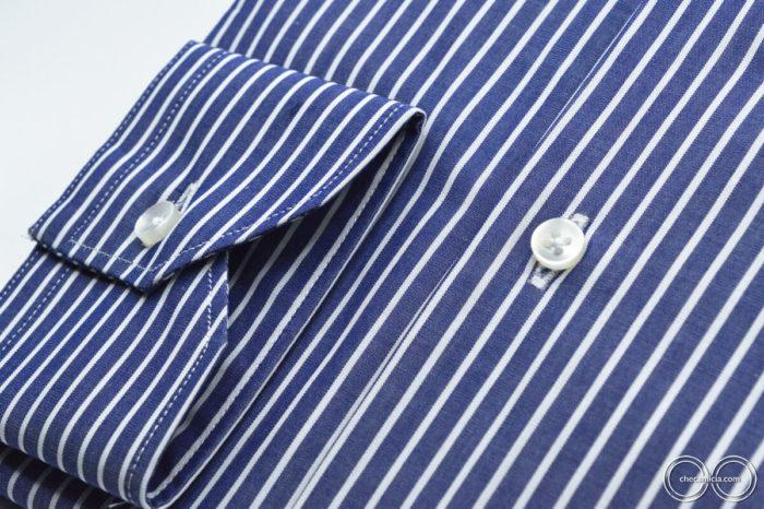 Camiceria online camicia blu a righe bianche Miami collo francese in cotone