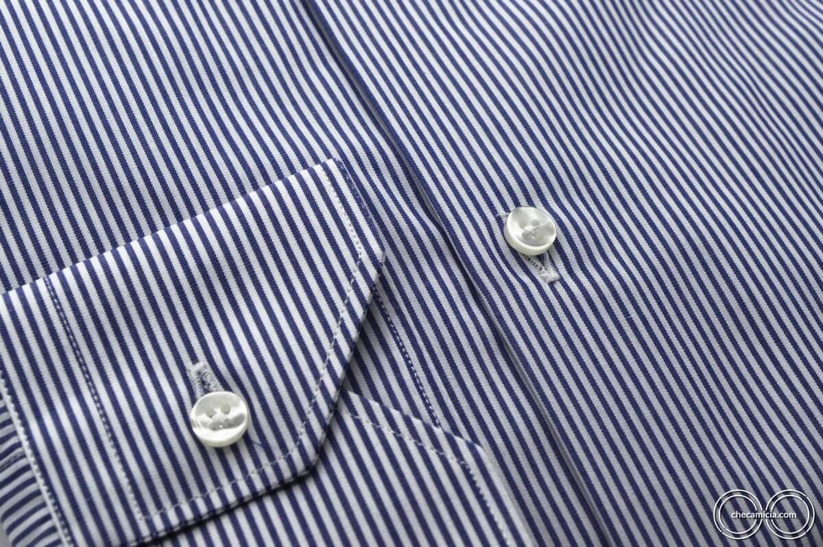 Camicia a righe bianca e blu collo italiano tessuto popeline Portland