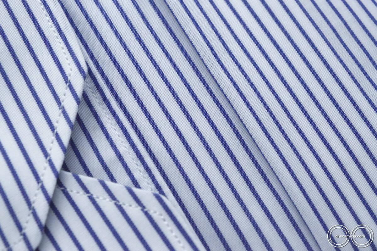 Camicia a righe bianche e blu Chicago collo alla francese
