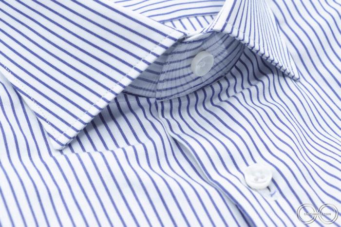 Camicia a righe bianche e blu Chicago collo francese tessuto popeline