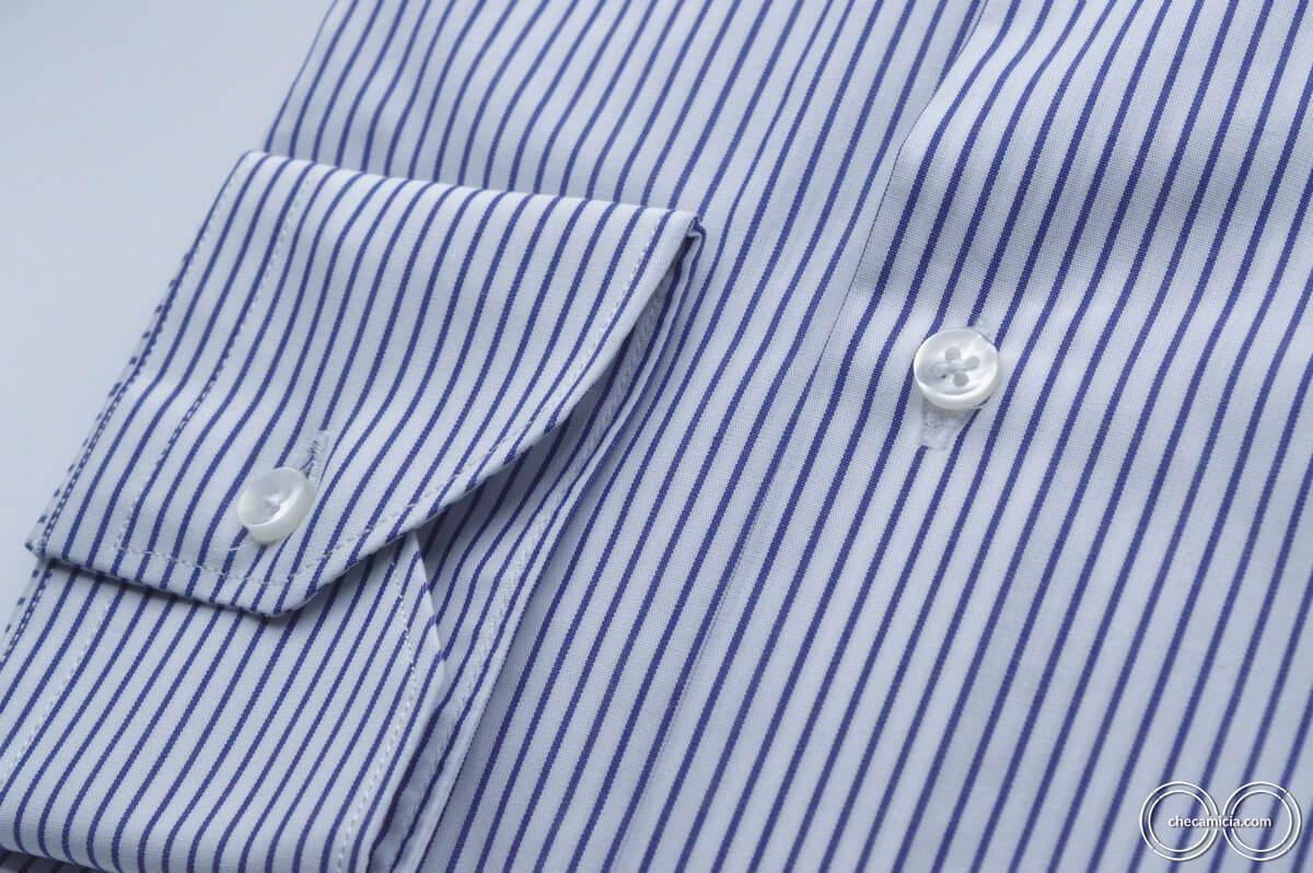 Camicia a righe blu e bianche Chicago colletto alla francese