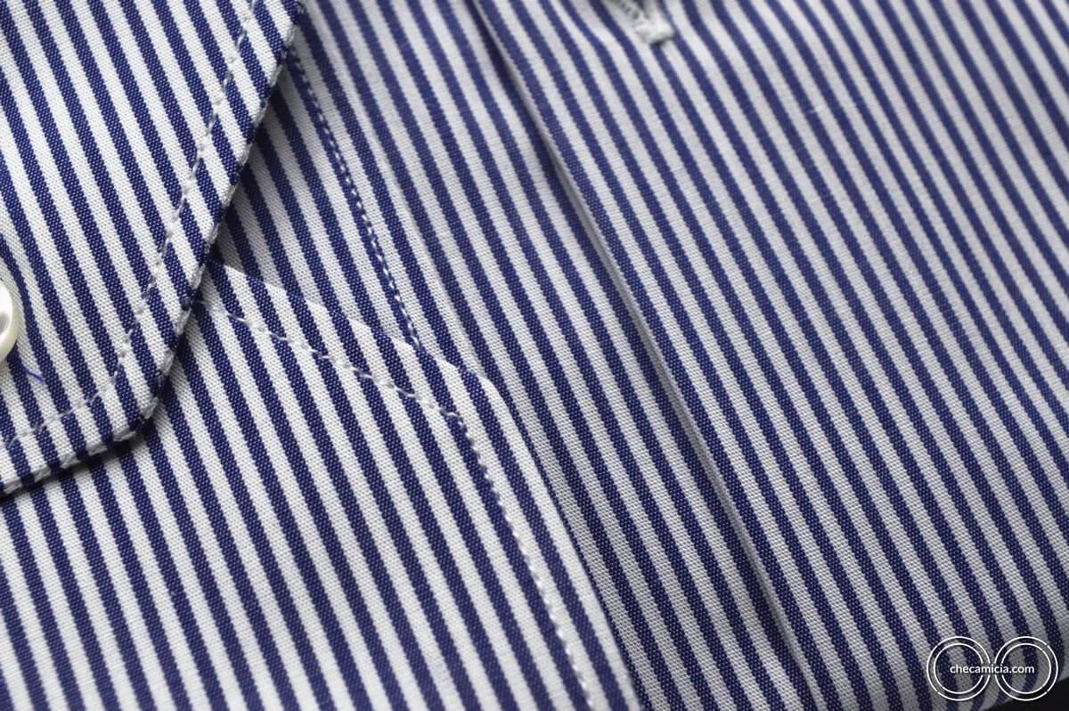 Camicia a righe blu e bianche collo italiano tessuto popeline cotone Portland
