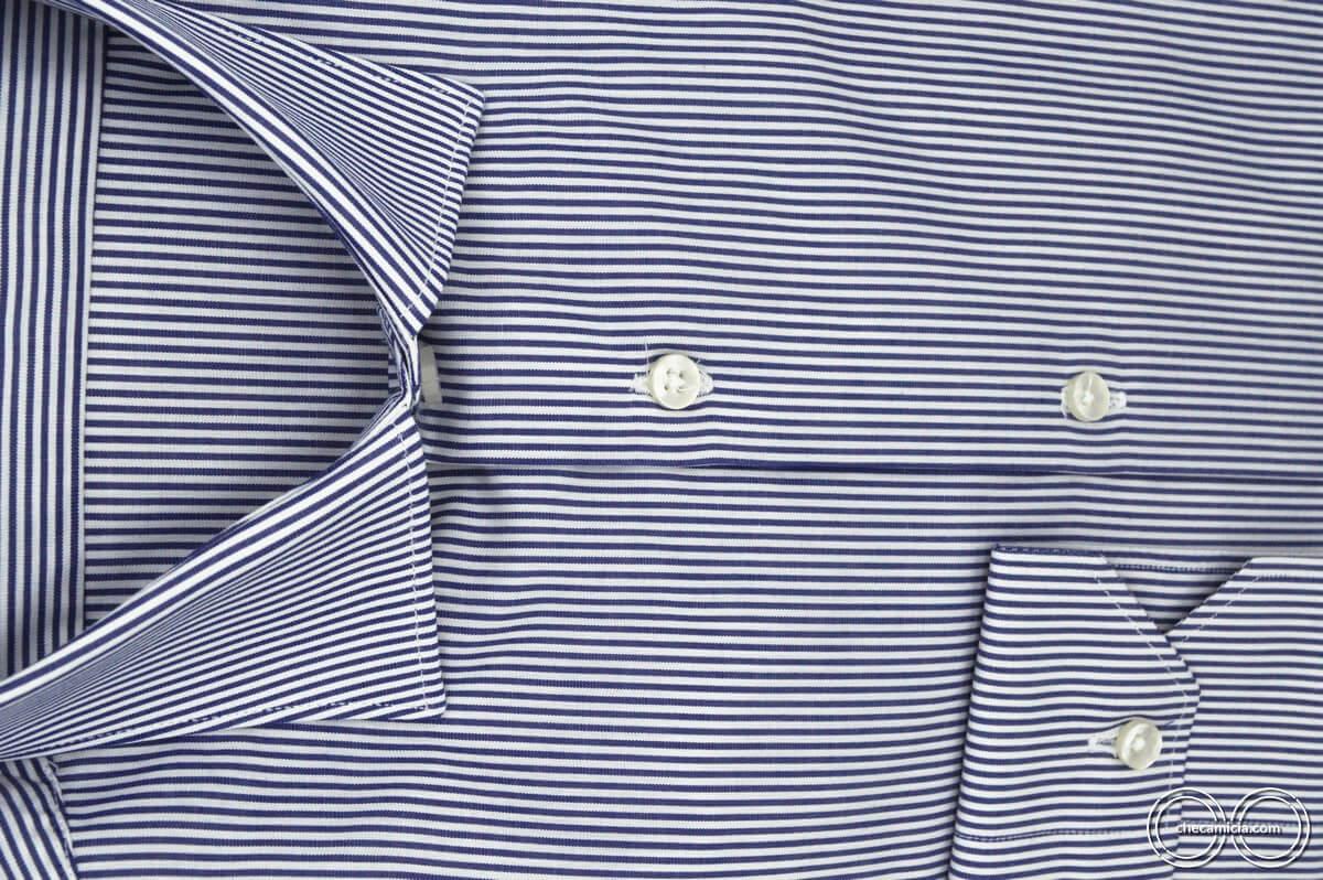 Camicia a righe uomo collo italiano tessuto popeline cotone Portland