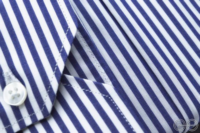 Camicia bianca a righe blu Dallas collo francese tessuto popeline cotone