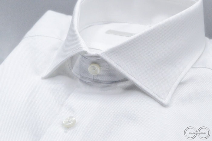Camicia bianca uomo Granada tessuto operato cotone colletto camicia italiano
