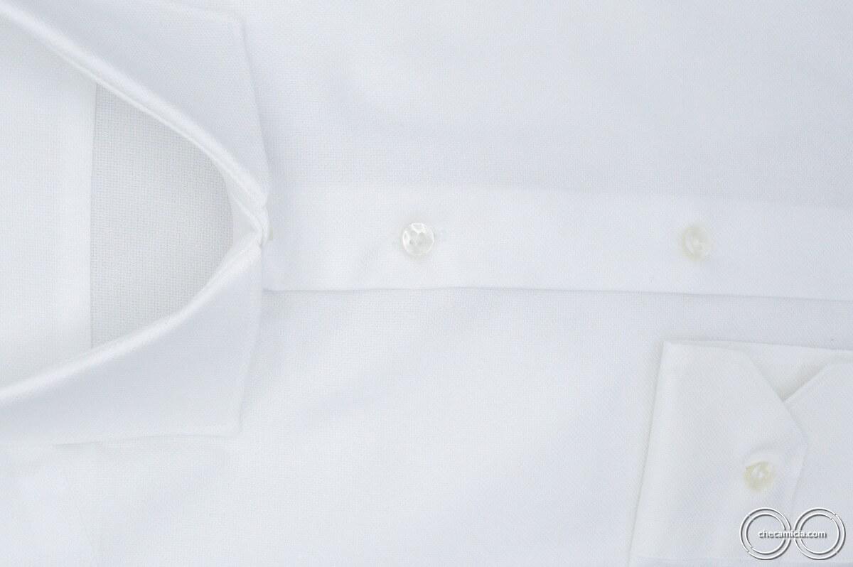 Camicia bianca uomo Granada tessuto operato cotone collo italiano