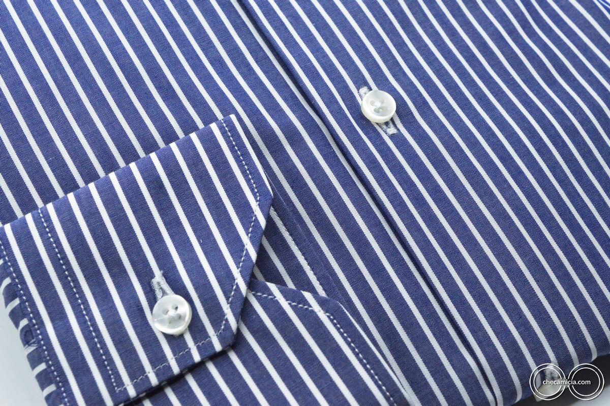 Camicia blu righe bianche Miami colletto alla francese tessuto popeline cotone