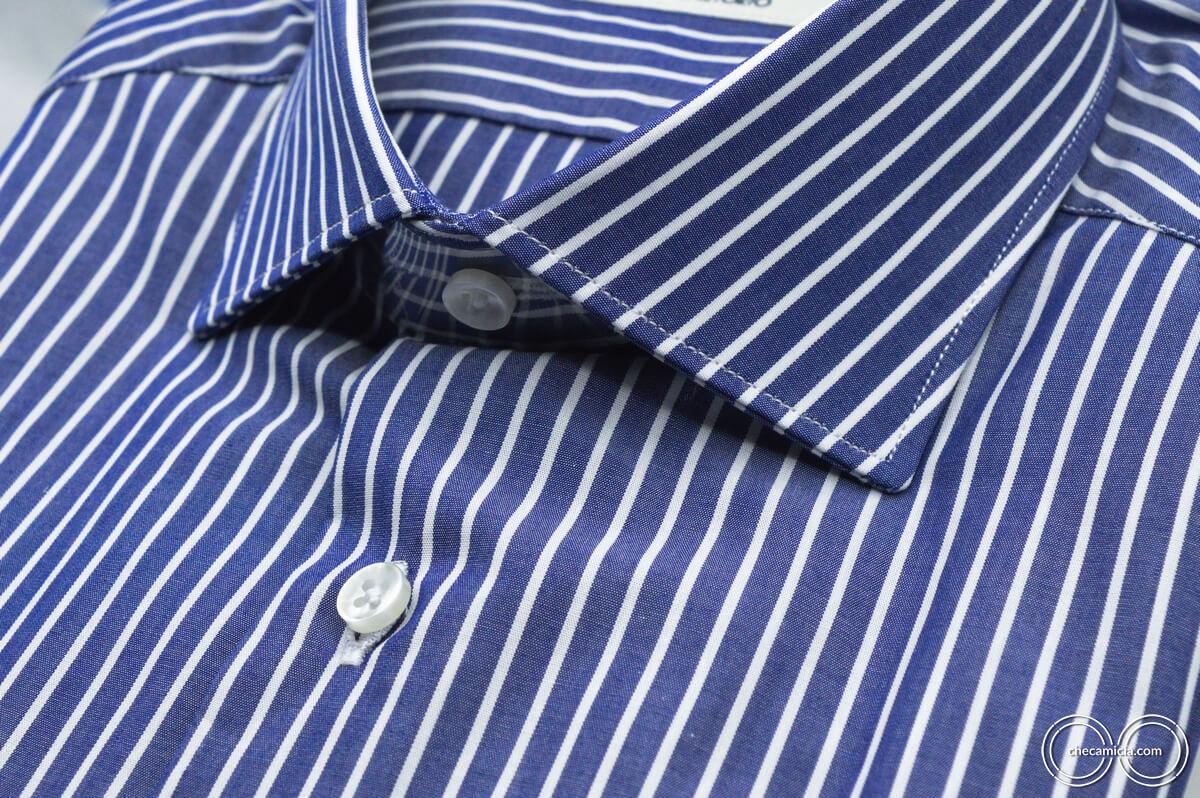 Camicia blu righe bianche Miami collo francese tessuto popeline cotone