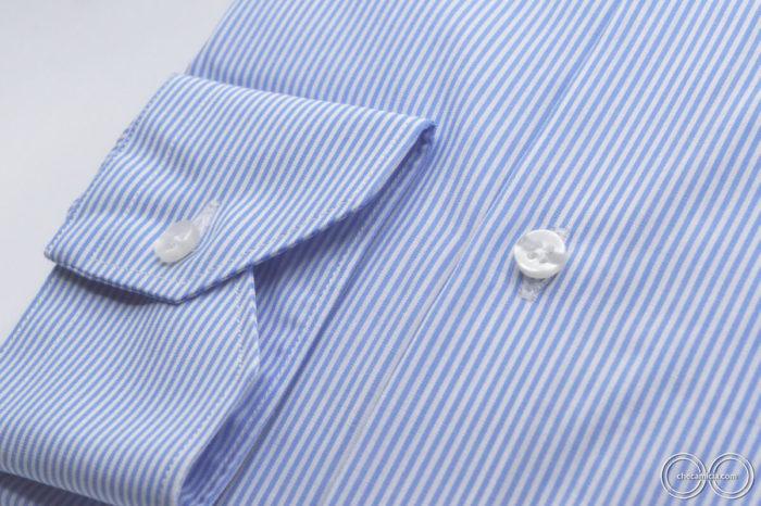 Camicia celeste a righe bianche Seattle collo francese tessuto cotone