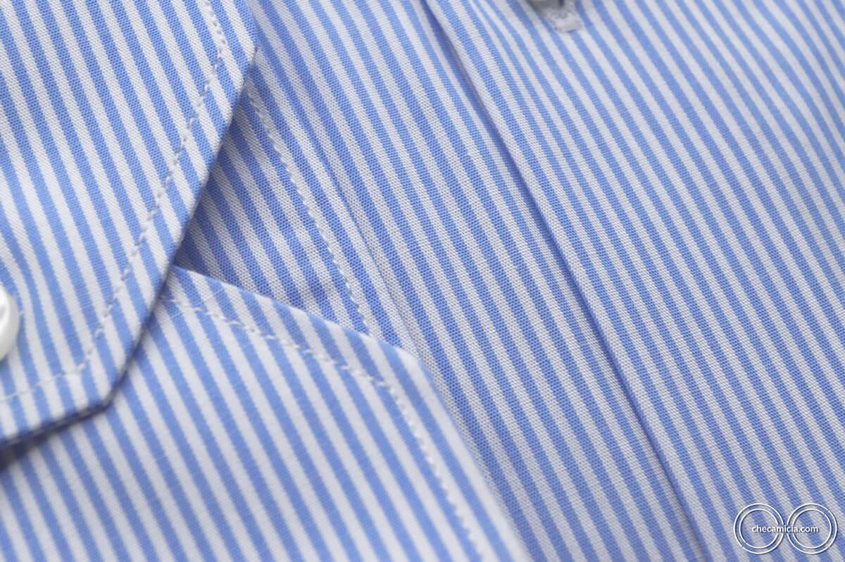 Camicia celeste riga bianca Seattle collo francese tessuto popeline cotone