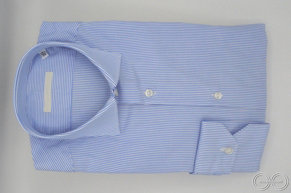 Camicia celeste righe bianche Seattle collo alla francese tessuto cotone popeline