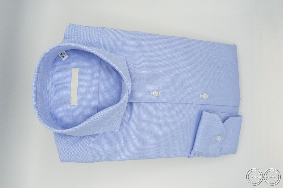 Camicia celeste uomo Petra tessuto domingo 100% cotone 4