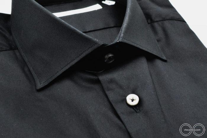 Camicia nera uomo Londra Tessuto Popeline collo francese CheCamicia