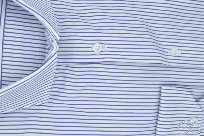 Camicia rigata bianche e blu Chicago collo francese