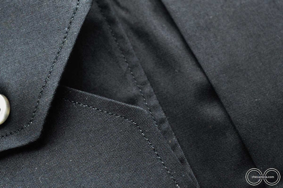 Camicia tinta unita nera londra colletto francese