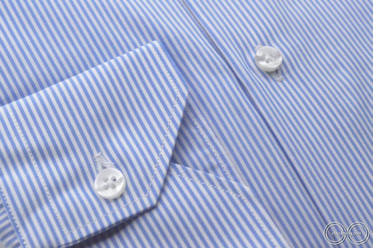 Collo francese camicia celeste righe bianche Seattle tessuto popeline cotone