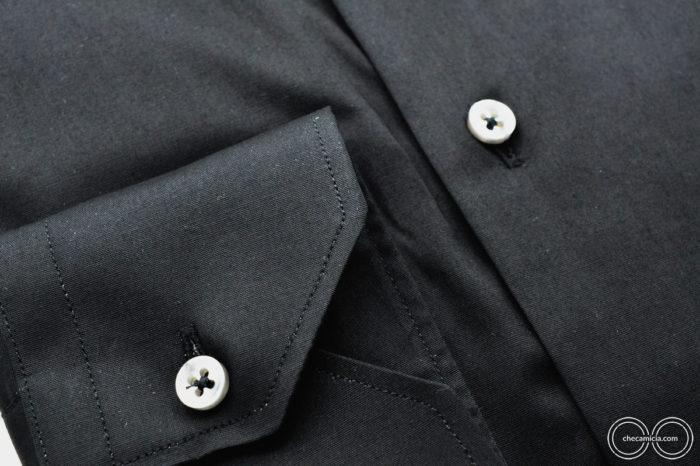 Collo francese camicia nera uomo Londra Tessuto Popeline Stretch CheCamicia