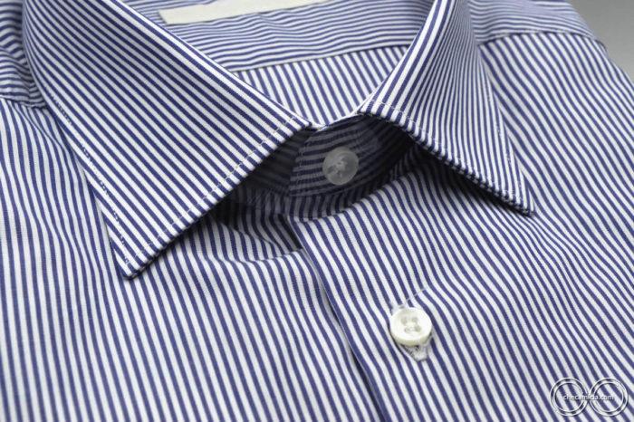 Portland camicia a righe bianca e blu collo italiano tessuto popeline cotone