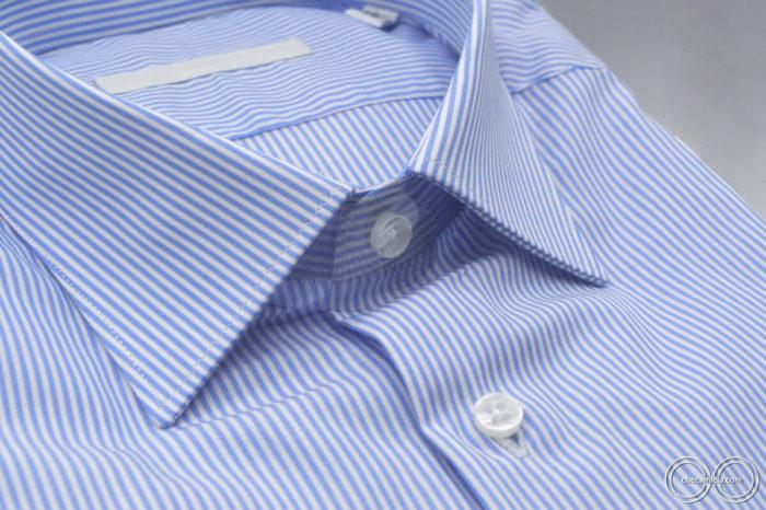 Seattle camicia rigata bianca collo francese tessuto popeline cotone