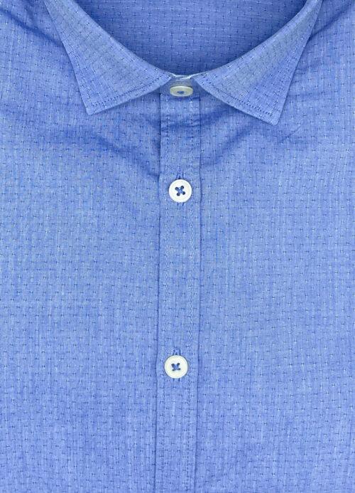 Camicia a pois blu uomo operato cotone Bourges