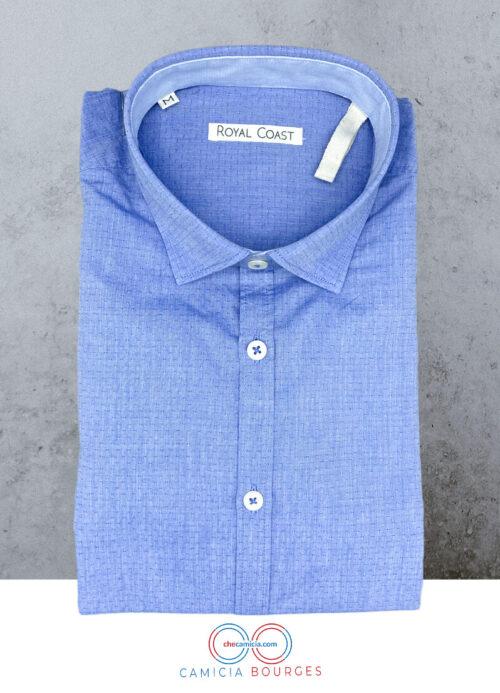Camicia a pois blu uomo operato di cotone Bourges