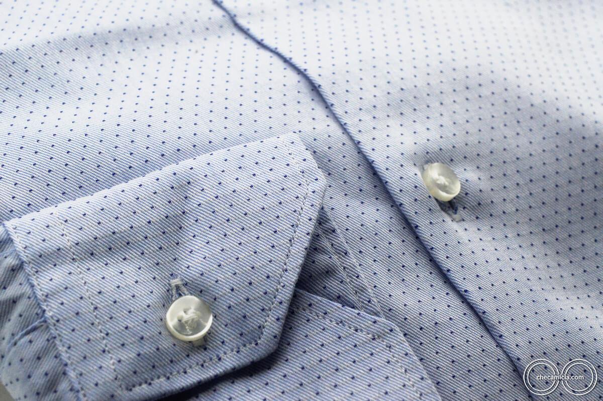 Camicia a pois uomo nantes collo italiano tessuto operato di cotone