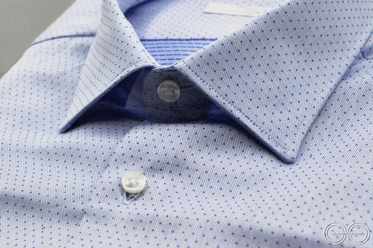 Camicia a pois uomo nantes tessuto operato di cotone colletto italiano