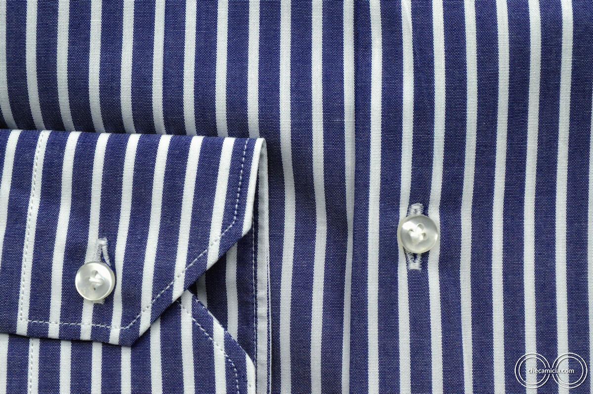 Camicia a righe bianca e blu Calcutta tessuto popeline collo italiano 10