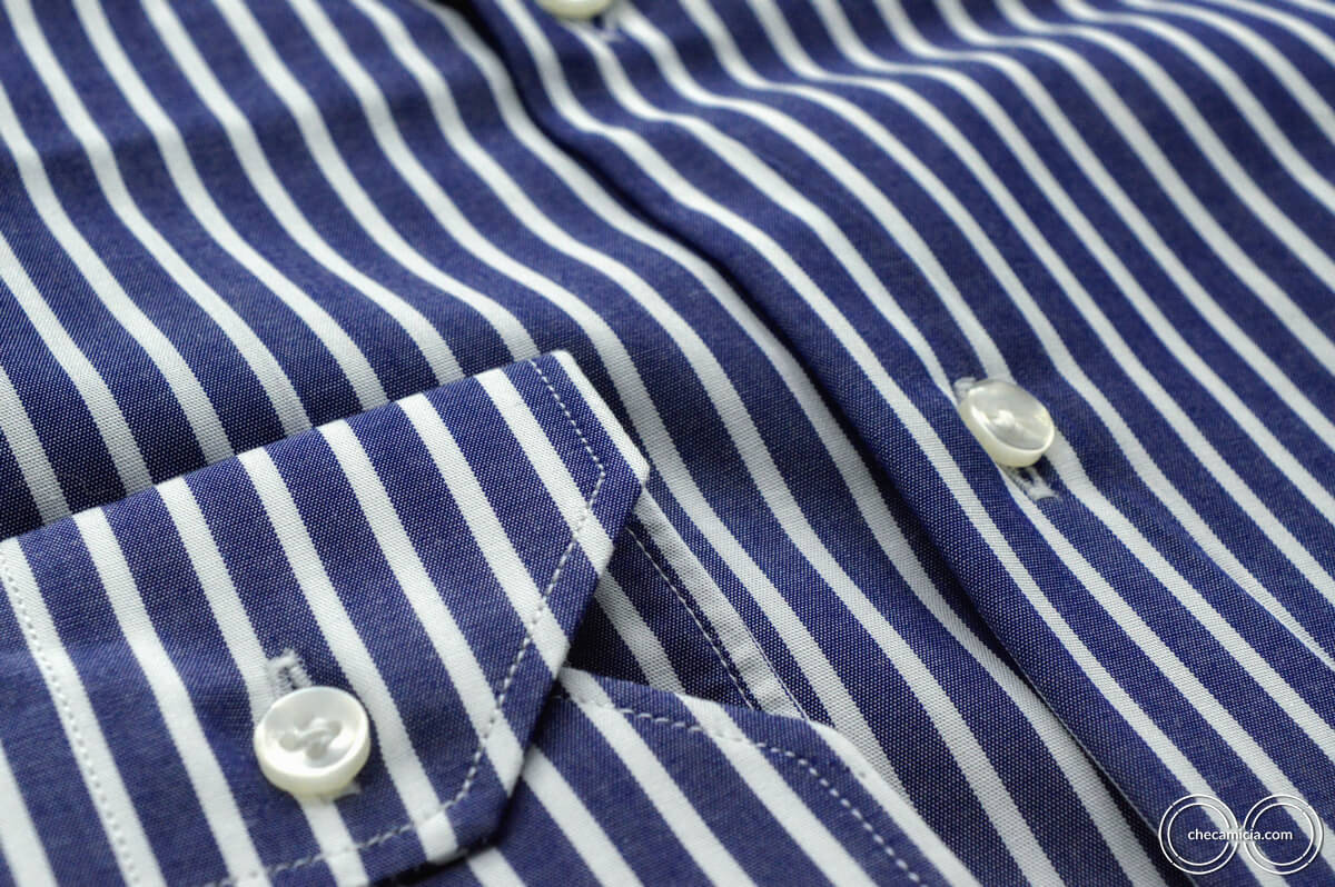 Camicia a righe bianca e blu Calcutta tessuto popeline collo italiano 7