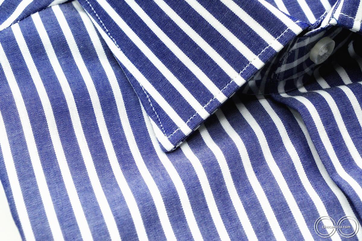 Camicia a righe bianca e blu Calcutta tessuto popeline collo italiano 8