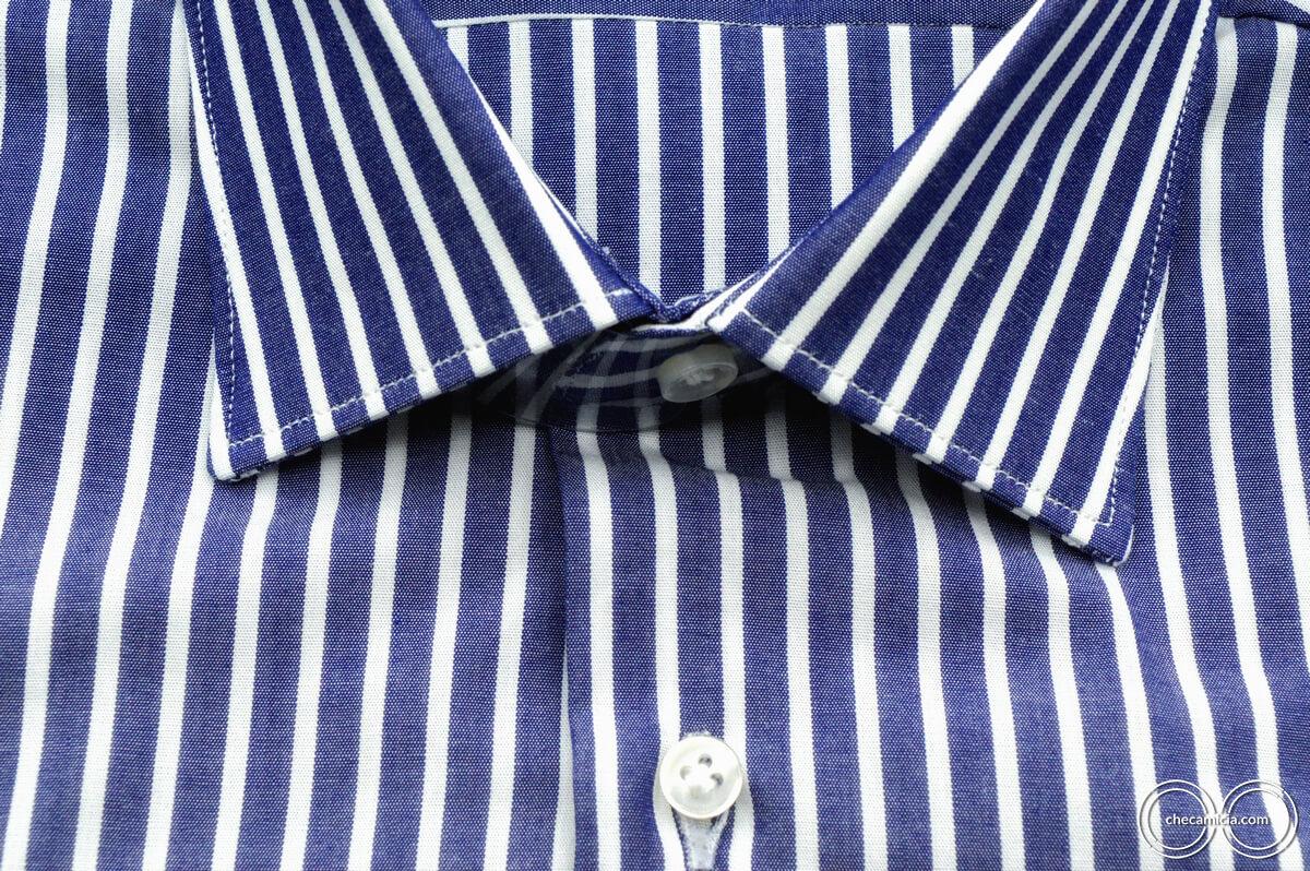 Camicia a righe bianca e blu Calcutta tessuto popeline collo italiano 9