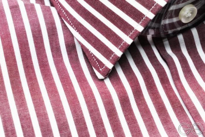 Camicia a righe uomo bourdeaux Detroit colletto italiano tessuto popeline cotone