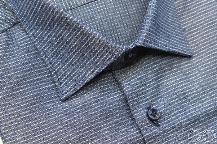 Camicia blu uomo austin tessuto operato di cotone collo italiano 5