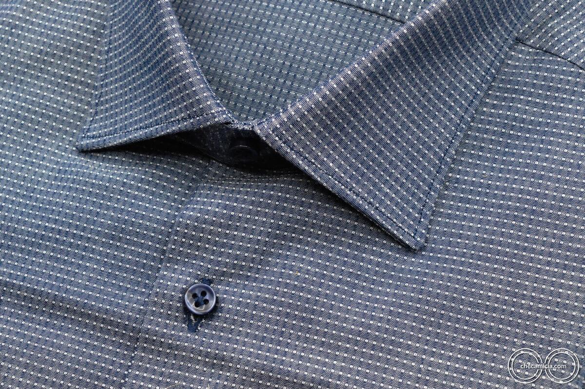 Camicia blu uomo austin tessuto operato di cotone collo italiano 6