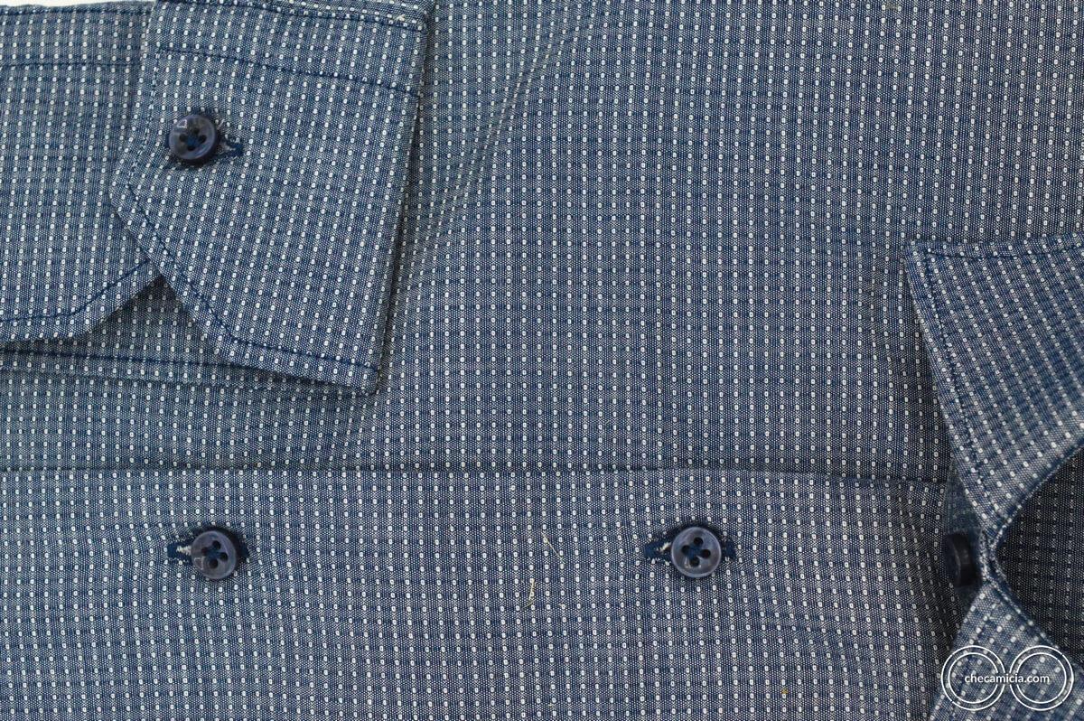 Camicia blu uomo austin tessuto operato di cotone collo italiano 7