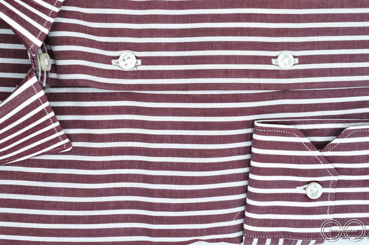 Camicia bordeaux uomo Detroit con righe bianche collo italiano tessuto popeline cotone