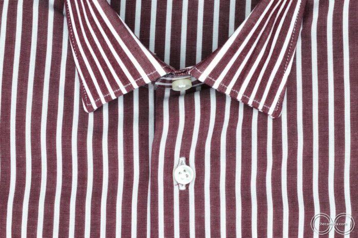 Camicia bordeaux uomo con righe bianche Detroit collo italiano tessuto popeline