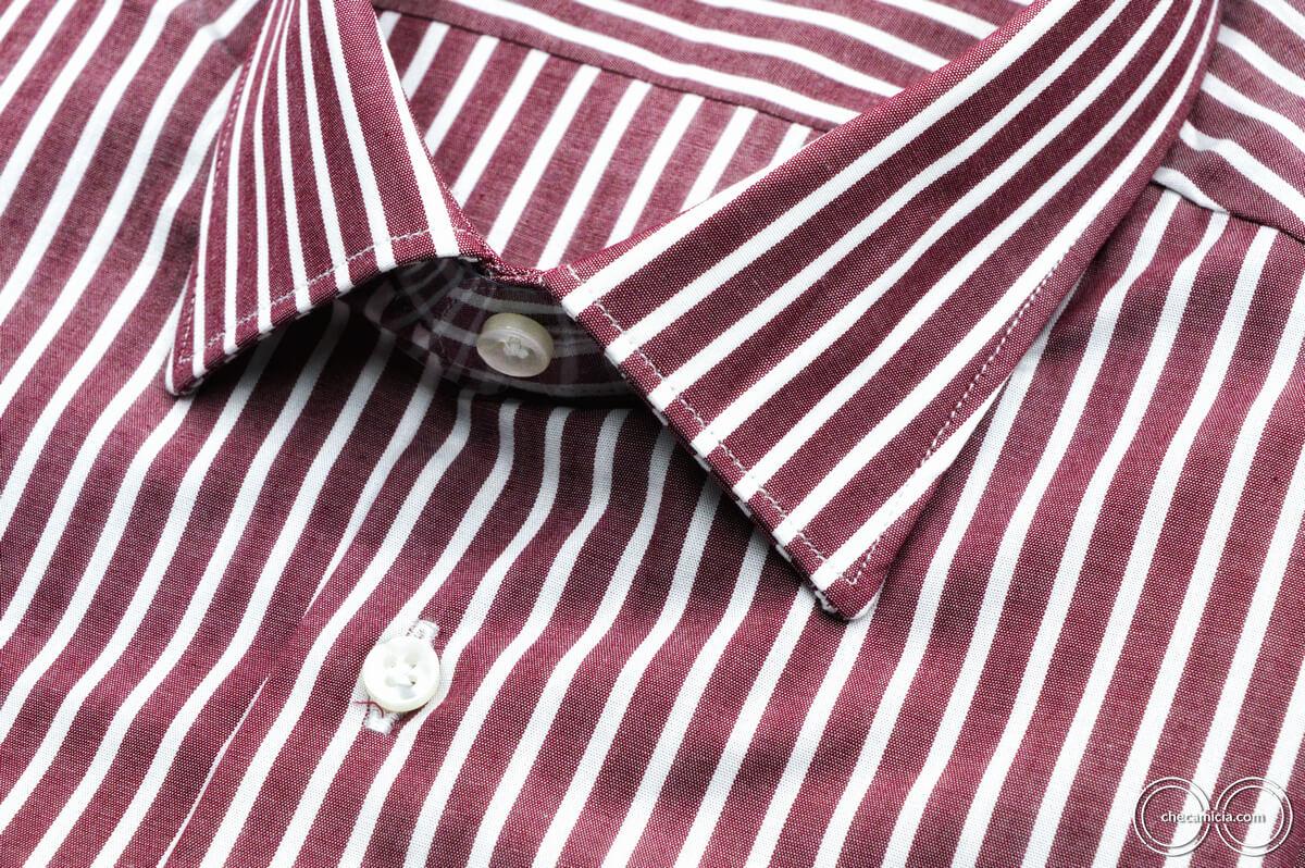 Camicia bordeaux uomo con righe bianche Detroit collo italiano tessuto popeline cotone1