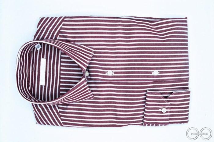 Camicia bordeaux uomo con righe bianche collo italiano Detroit tessuto popeline cotone10