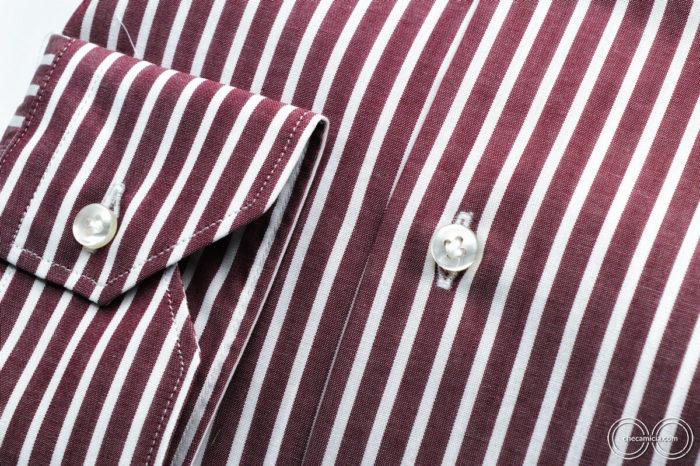 Camicia bordeaux uomo con righe tessuto popeline cotone bianche Detroit collo italiano