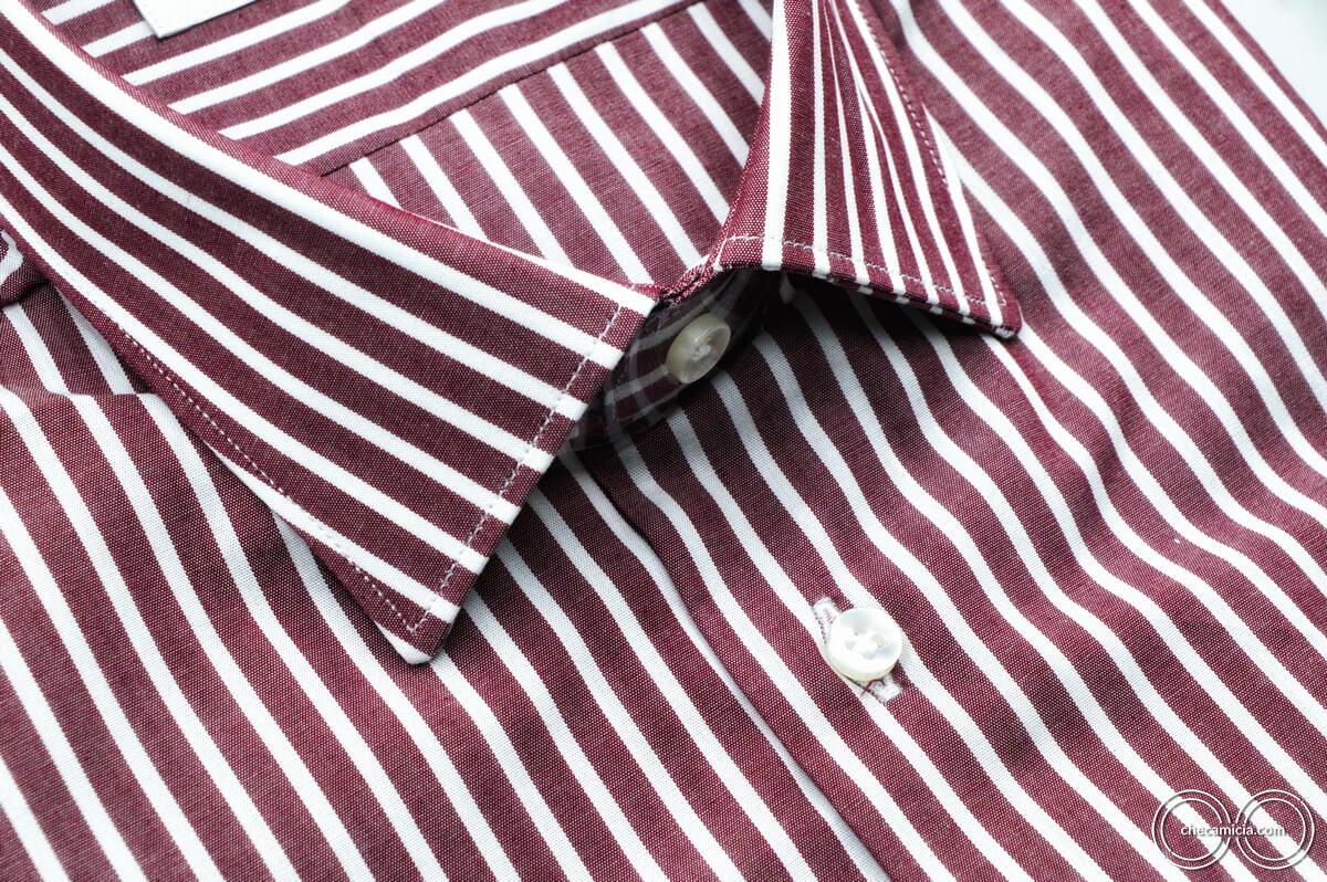 Camicia bordeaux uomo riga biana Detroit collo italiano tessuto popeline cotone