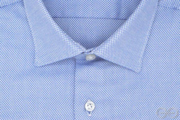 Camicia celeste uomo colletto italiano tessuto camicia cotone operato