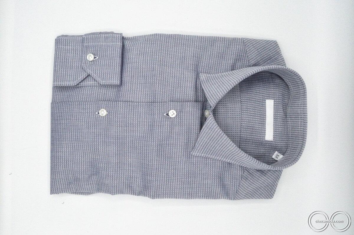 Camicia collo italiano tessuto operato di cotone camicia blu grigia uomo Mumbai