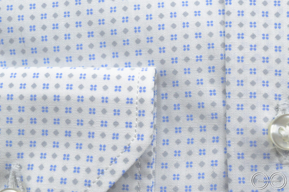 Camicia fantasia uomo bianca microfantasia celeste grigio Tours tessuto popeline cotone colletto italiano