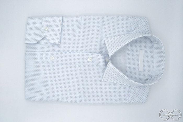 Camicia fantasia uomo bianca microfantasia celeste grigio Tours tessuto popeline cotone collo italiano2
