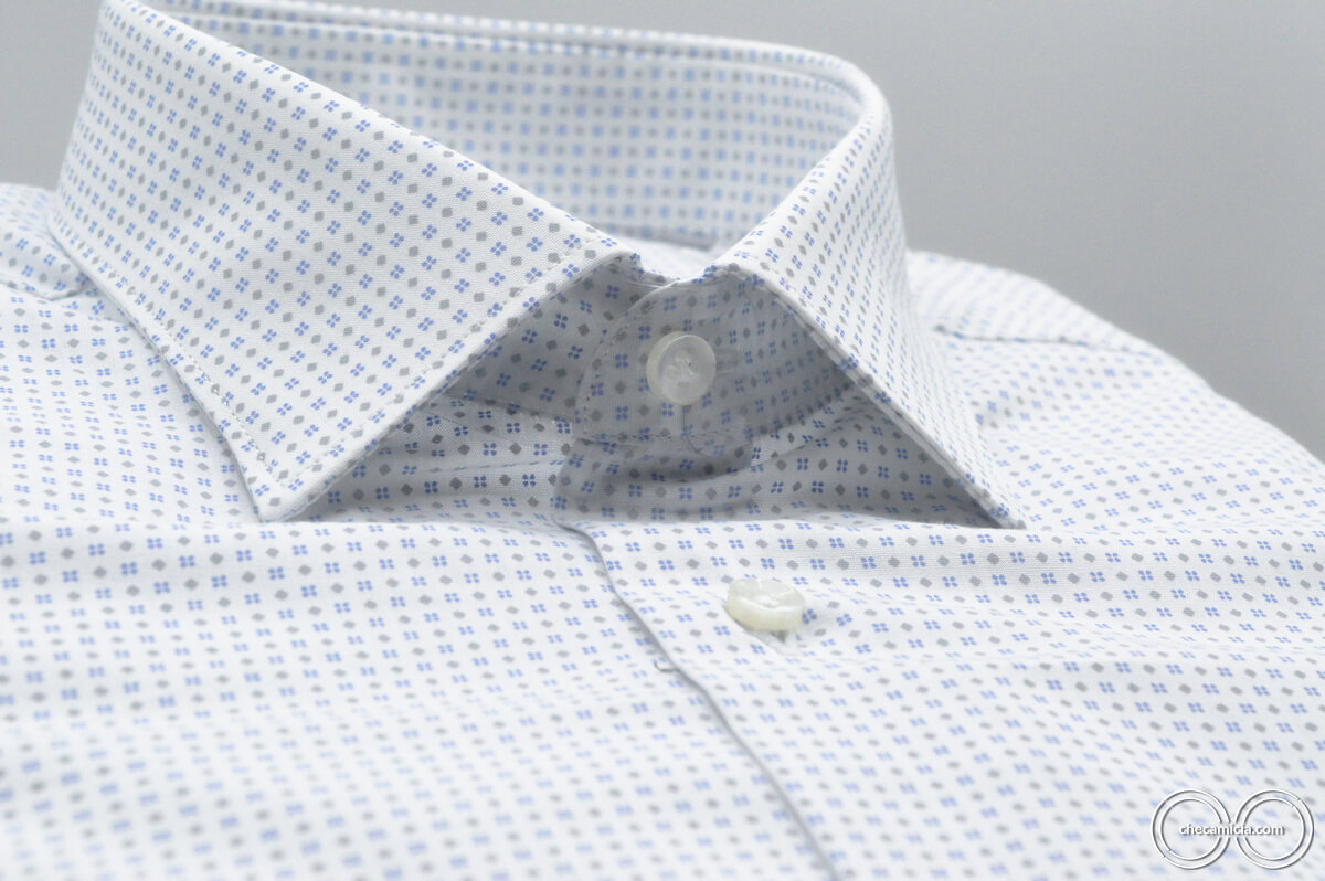 Camicia fantasia uomo bianca microfantasia celeste grigio Tours tessuto popeline cotone collo italiano9