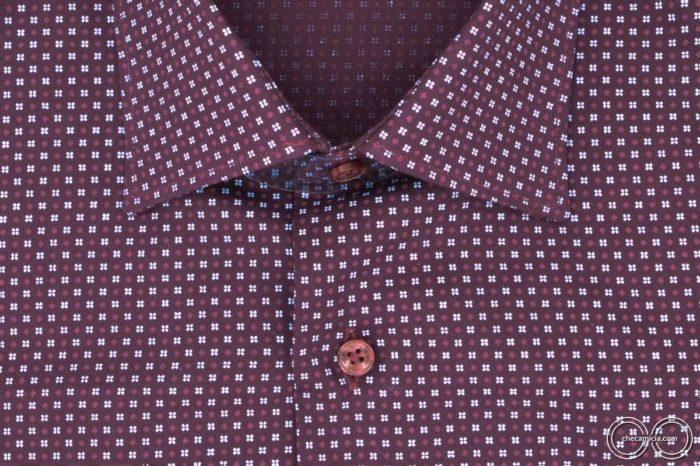 Camicia microfantasia bordeaux Metz colletto camicia italiano tessuto popeline