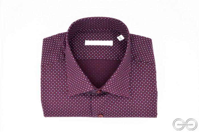 Camicia microfantasia bordeaux Metzcollo italiano tessuto popeline di cotone