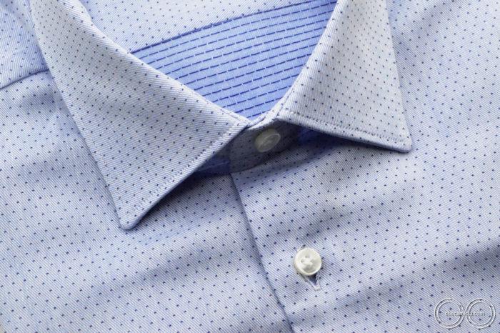 Camicia online a pois uomo nantes tessuto operato di cotone collo italiano