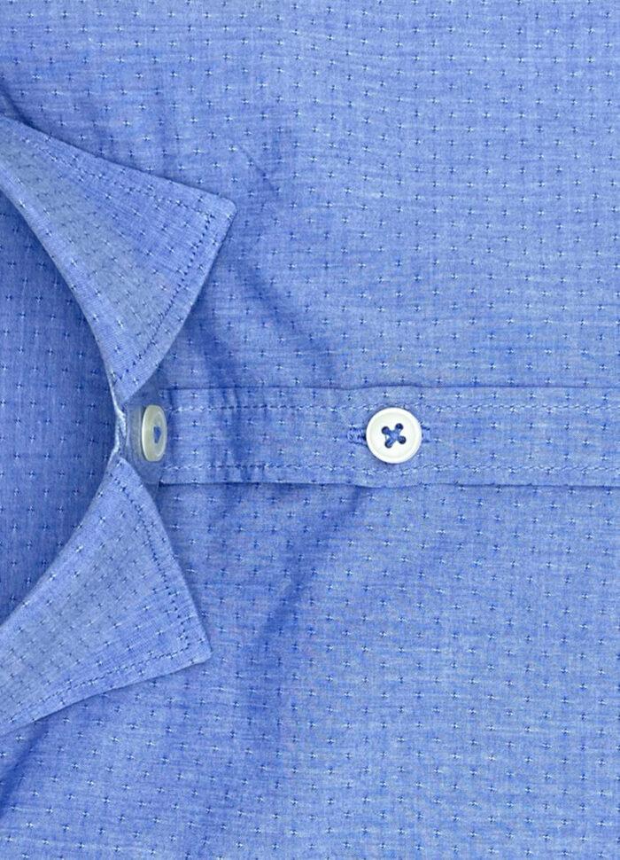 Camicia pois blu uomo operato cotone Bourges